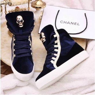 shoes navy hightop chanel bag