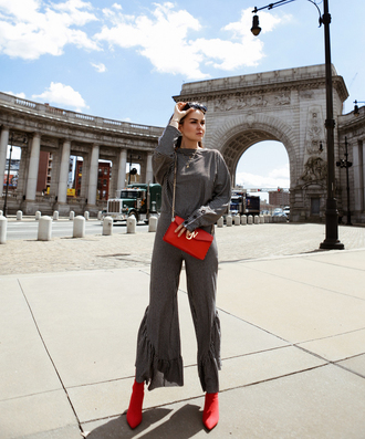 bag red bag jw anderson bag crossbody bag pants kick flare grey pants top grey top boots red boots matching set
