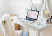 fashion,furniture,home decor,decoration,white,girly,modern,pink,bedroom,make-up,beautiful,macbook,chair,desk,makeup table