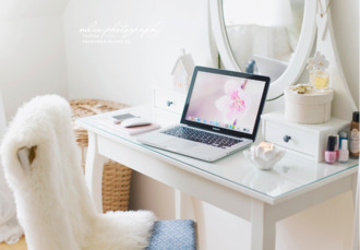 fashion furniture home decor decoration white girly modern pink bedroom make-up beautiful macbook chair desk makeup table