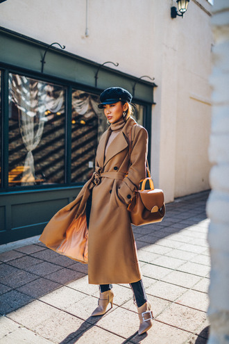 not jess fashion blogger coat sweater jeans shoes bag fisherman cap beige coat trench coat winter outfits