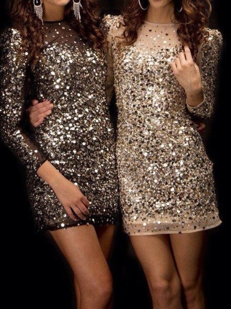 Dress sparkling dress silver sequins sequins sparkle for New year party dresses