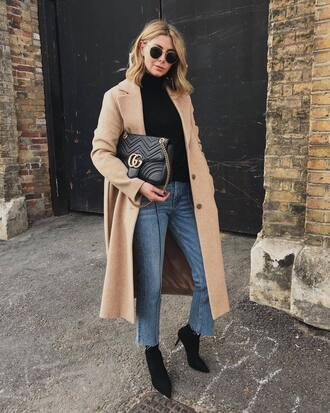 coat long coat tumblr camel camel coat denim jeans blue jeans top turtleneck turtleneck sweater bag black bag sunglasses