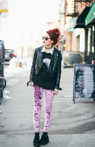 le happy blogger leggings lilac perfecto velvet creepers