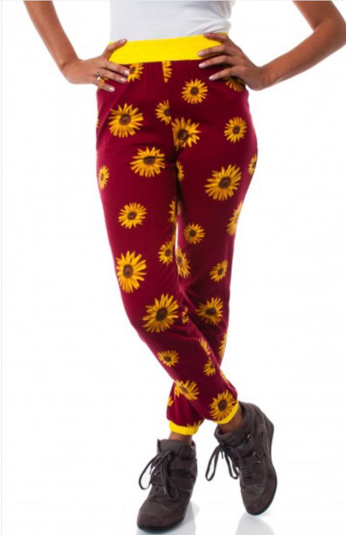 Lethalbeauty ? burgundy sunflower jogger pants