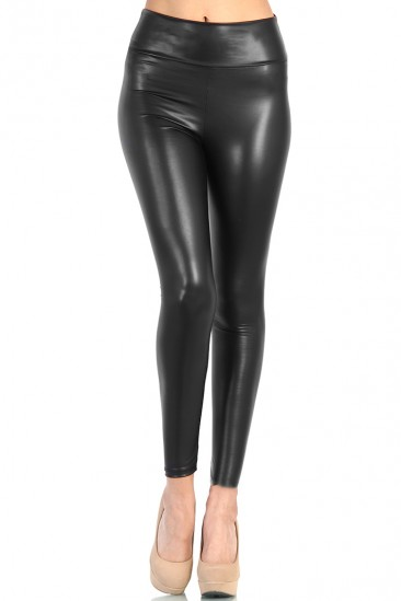 LoveMelrose.com From Harry & Molly   High Waist Leather Pants - Black