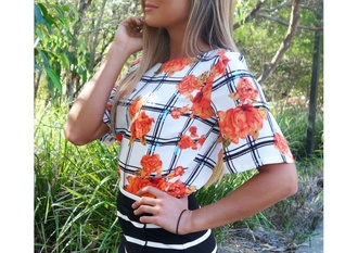 blouse shirt t-shirt tank top top floral floral top checker top stripes orange flowers orange black and white stripes skirt plaid flannelette white flowers