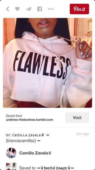 sweater style sweatshirt pullover crewneck white sweater flawless quote on it baddies black girls killin it cropped sweater