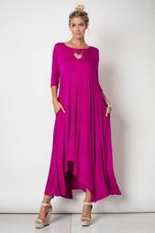 dress,fuschia pink,maxi dress,fuschia maxi dress