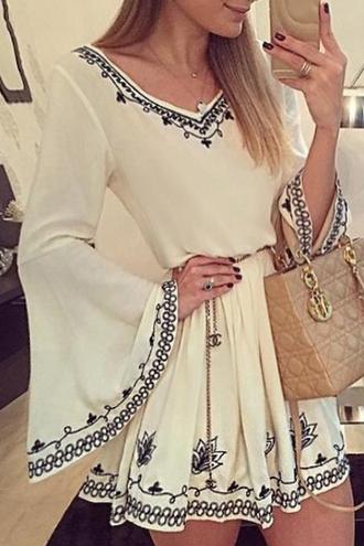 dress white long sleeves cute fashion short dress pretty girly pattern gypsy boho