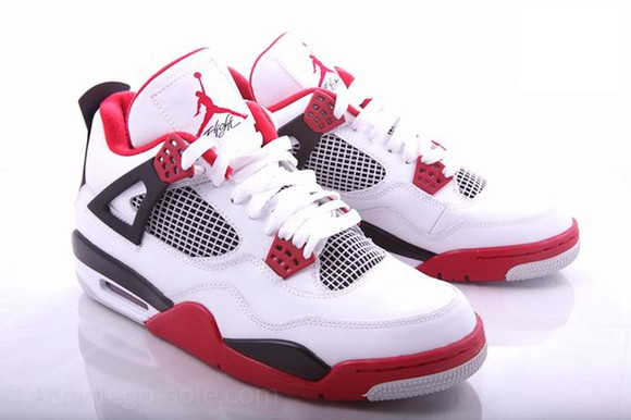 shoes trainers white red jordans