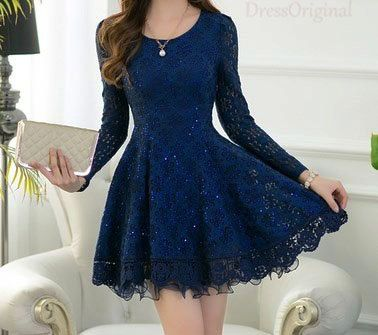 lace dress blue mini dress / Long Sleeved blue Lace Chiffon Dress ...