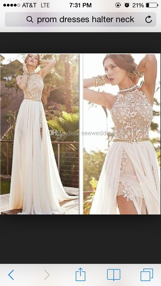 dress tan flowers halter top slit up to hip off white skirt prom dress party dress