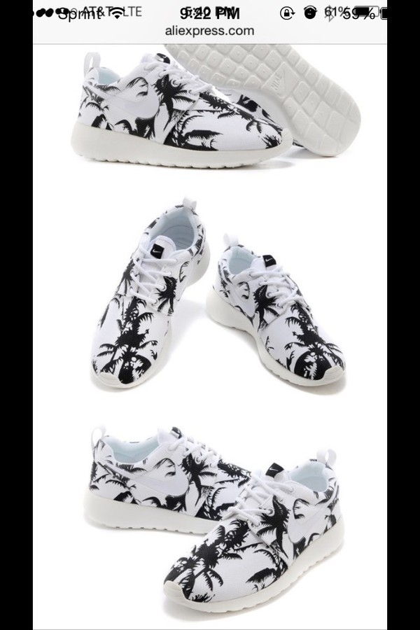 shoes white black nike running shoes roshe runs palm tree print