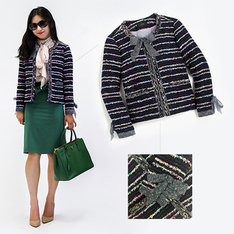 fastfood&fastfashion blogger jacket blouse bag jeans shoes skirt coat fall outfits tweed jacket green bag green skirt pumps high heel pumps