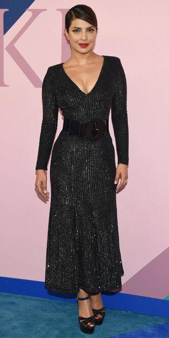 dress maxi dress glitter sparkly dress priyanka chopra black dress plunge dress cfda