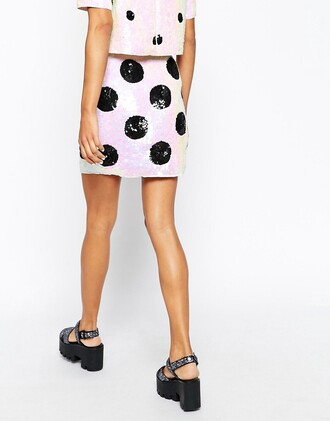 skirt polka dots sequins sequin skirt iridescent