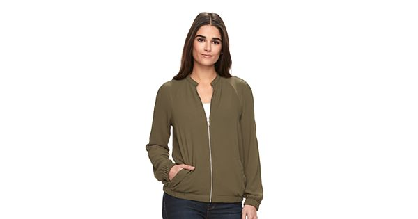 Women's Apt. 9 Solid Bomber Jacket
