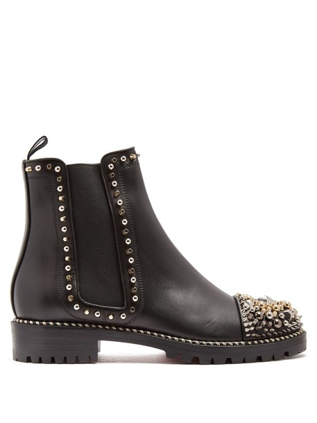 christian louboutin embellished chelsea boots leather black shoes