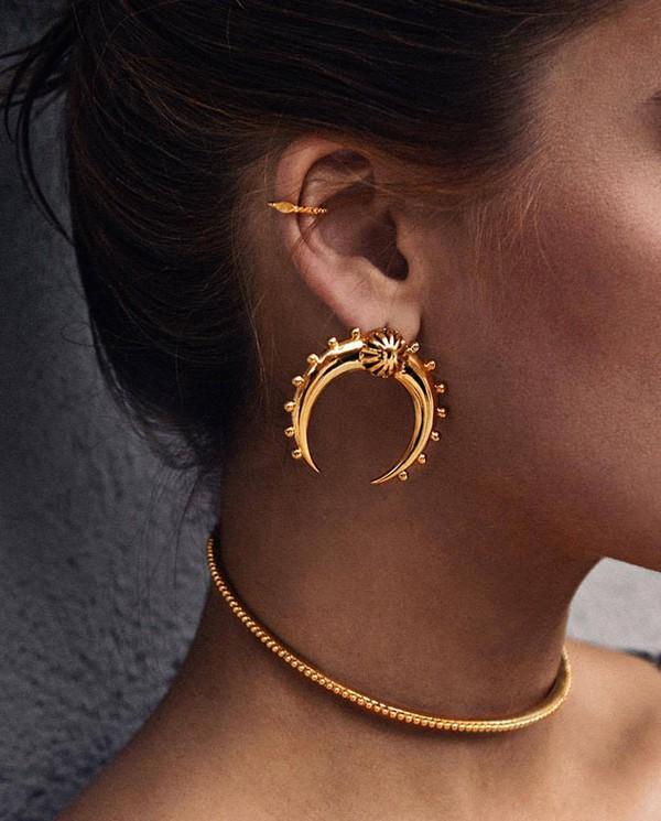 jewels crescent moon earrings gold earrings necklace gold necklace gold jewelry jewelry choker necklace gold choker tumblr statement earrings moon crescent boho boho chic ear piercings boho jewelry