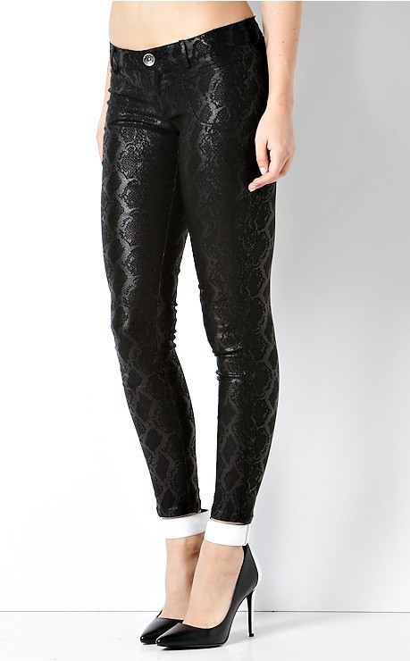 """dark anaconda"" snakeskin cotton denim jeans – glamzelle"