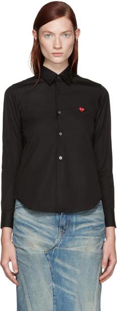 Comme Des Garçons Play Black Poplin Small Heart Shirt