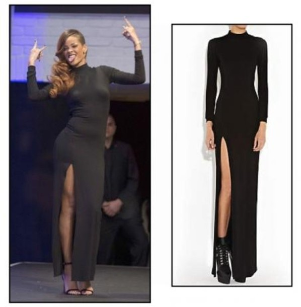Dress Black Rihanna Long Black