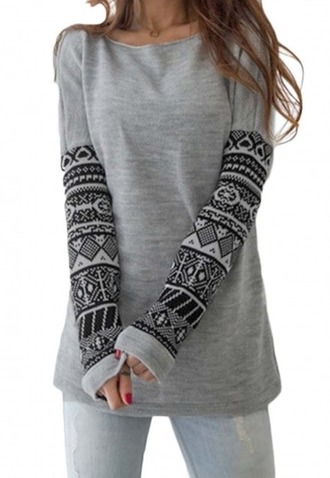 blouse girl girly girly wishlist grey black tribal pattern sweater fashion style trendy pattern casual long sleeves fall outfits beautifulhalo
