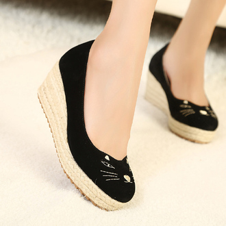 shoes cat shoes low wedges black cat cute