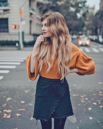 sweater tumblr mustard sweater mustard skirt mini skirt wrap skirt black skirt knit knitwear knitted sweater