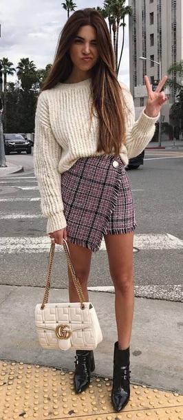 skirt plaid skirt sweater chunky cream sweater cream