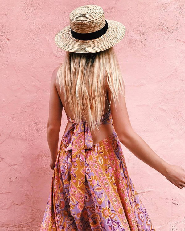 dress hat tumblr printed dress open back open back dresses backless backless dress sun hat summer dress