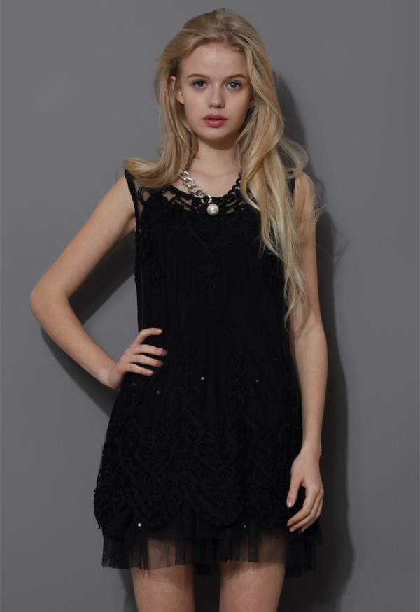 dress baroque embroider embroidered black mesh top