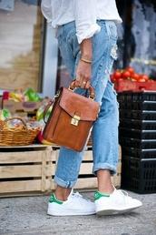 jeans,stan smith,denim,boyfriend jeans,bag,satchel,satchel bag,brown,leather,teacher,gold