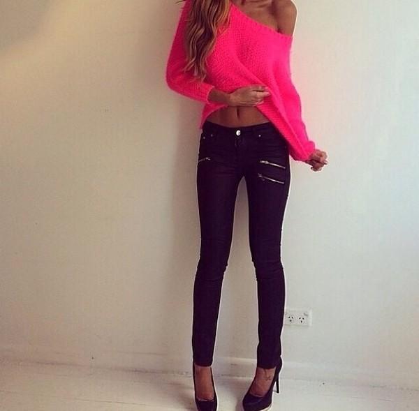 blouse pink neon pink off the shoulder sweater pants dark blue shirt