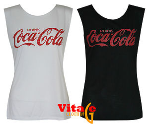 Womens girls sleeveless coca cola print vest tshirt tank top shirt 8 10 12 14