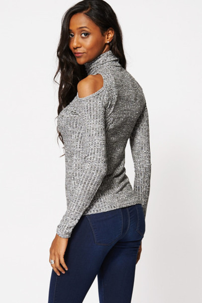 cut-out shoulder top grey sweater turtleneck cut-out fashion winter sweater holiday season holiday gift top