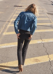 jacket,tumblr,blue jeans,blue jacket,denim jacket,denim,shoes,quote on it