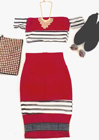 dress burgundy burgundy red two-piece 2 piece outfit skirt clubwear stripes mesh
