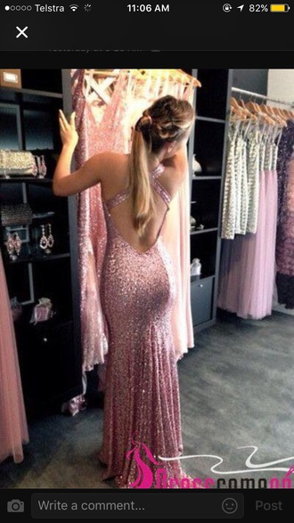 dress pink ball dresses prom backless prom dress glitter prom dress pink glitter
