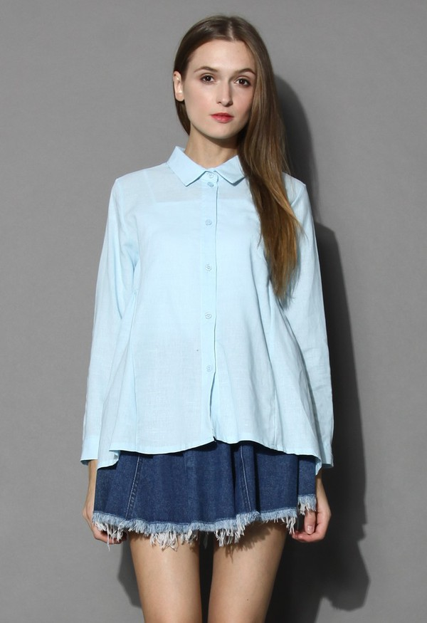 chicwish dolly shirt flare and pleats blue shirt