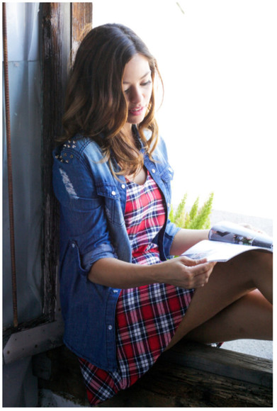 denim shirt girly flannel plaid dress red plaid distressed denim hipster girl hiphop style back to school