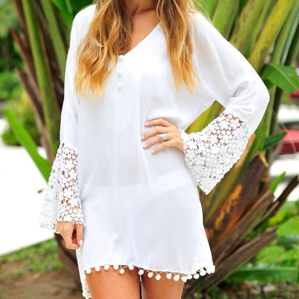 dress baku heatwave kaftan in white