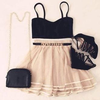 shirt pink skirt golden belt black shoes princess black and pink