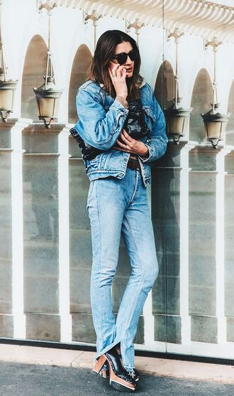 jacket shearling denim jacket shearling jacket shearling denim jacket blue jacket jeans blue jeans high heels black high heels black shoes shoes sunglasses black sunglasses streetstyle fall outfits college back to school