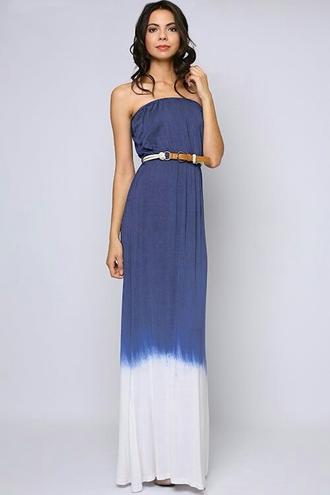 dress blue and white ombre maxi dress tan leather belt blouse open back black