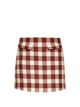 skirt mini skirt mini gingham brown