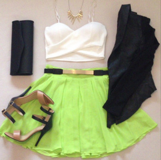 tank top skirt green skirt neon gold belt belt gold bustier top bralette gold necklace necklace jacket clutch heels clothes neon green skirt white tank top shoes jewels