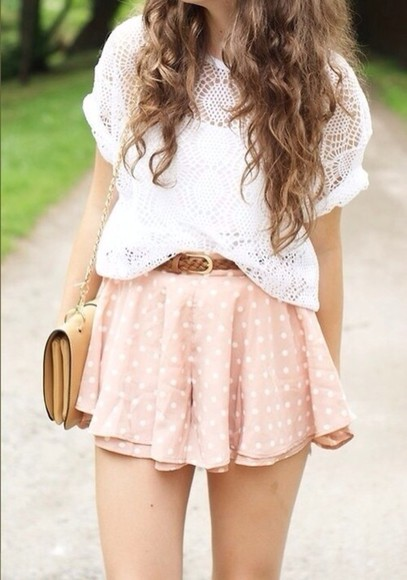 cute spring summer white shirt skirt bag orange points short fuchsia