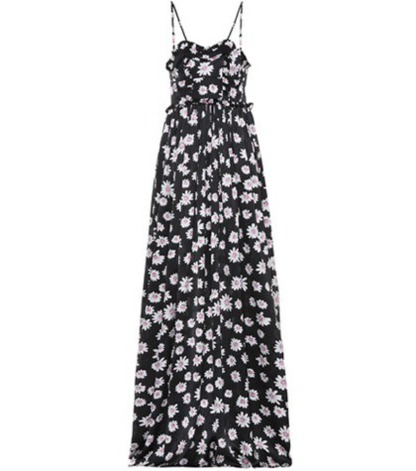 Balenciaga Floral-printed silk jacquard dress in black